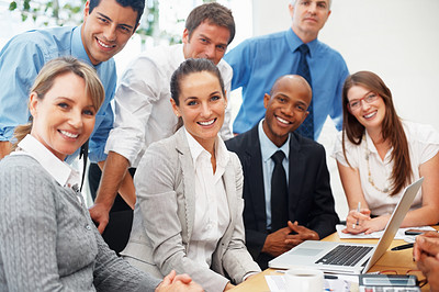 Buy stock photo Group of multi ethnic business people smiling during meeting