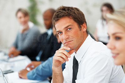 Buy stock photo Closeup of business man with a confident look during meeting
