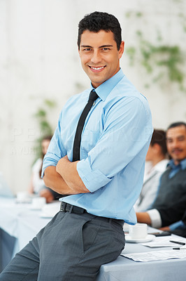Buy stock photo Business man smiling with hands folded during meeting