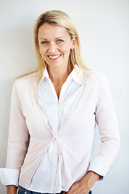 Buy stock photo Portrait of a young stylish casual businesswoman standing against grey background