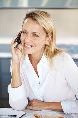 Buy stock photo Portrait of a beautiful young businesswoman using mobille phone in office