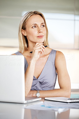 Buy stock photo Portrait of a pretty young business woman thinking while taking notes at office