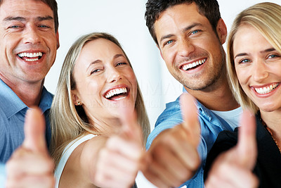 Buy stock photo Portrait of successful business people showing thumbs up