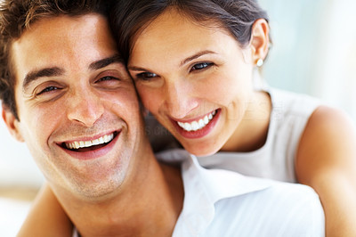 Buy stock photo Closeup portrait of beautiful young couple in love smiling together
