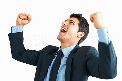 Buy stock photo Business man throwing fists in air and smiling