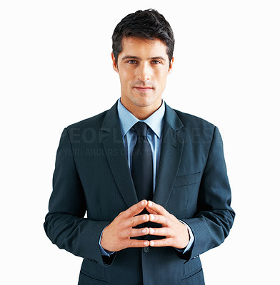 Buy stock photo Serious executive standing with hands together