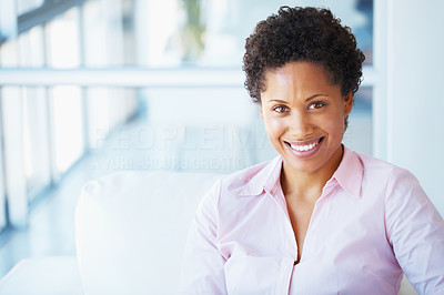 Buy stock photo Happy African American business woman smiling