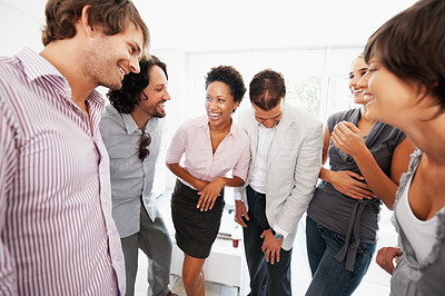 Buy stock photo Multi ethnic group of business people rejoicing success