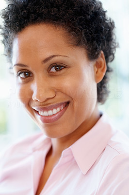 Buy stock photo Closeup of woman smiling indoors