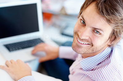 Buy stock photo Rear view of attractive man at laptop