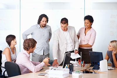 Buy stock photo Businesspeople discussing work in a boardroom