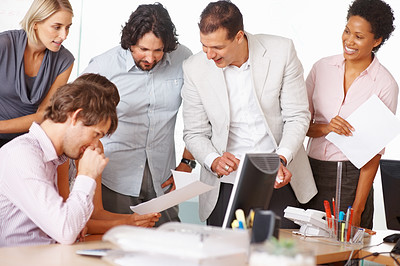 Buy stock photo Team of smiling professionals discussing plan in conference room
