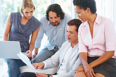 Buy stock photo Business man discussing project with his team