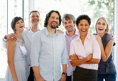 Buy stock photo Successful multiracial business team standing together at office