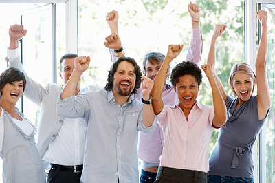 Buy stock photo Happy multi ethnic business people with hands raised celebrating success