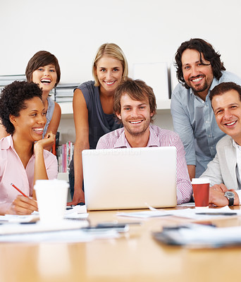 Buy stock photo Portrait of smiling business people at meeting in office