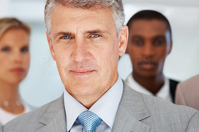Buy stock photo Closeup portrait of a confident mature business man with his team in background