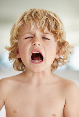 Buy stock photo Portrait of an adorable  boy yelling against blurred background