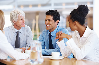 Business team having happy conversation