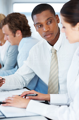Buy stock photo Portrait of a multi ethnic business team working together at office