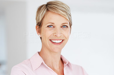 Buy stock photo Portrait of a pretty business woman looking happy - Copyspace