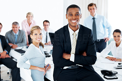 Buy stock photo Cheerful young american african businessman woking with successful business team at office