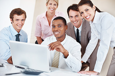 Buy stock photo Business group portrait - Five business people working together and having a laugh