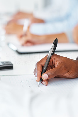 Buy stock photo Cropped image of hand of businessman taking down notes in a meeting at office