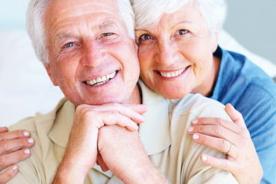 Buy stock photo Closeup portrait of senior couple giving you an attractive smile