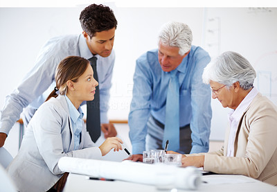 Buy stock photo Portrait of group of businesspeople discussing work during a meeting