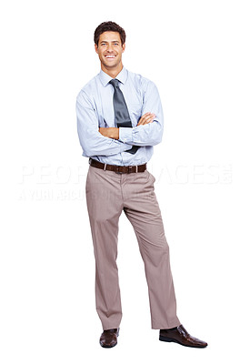 Buy stock photo Happy young businessman standing with his hands folded isolated on white baackground