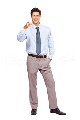 Buy stock photo Portrait of a happy young male business entrepreneur pointing at you against white background