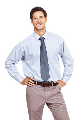 Buy stock photo Portrait of a successful young business man standing with hands on hip against white background