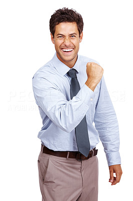 Buy stock photo Portrait of a successful young business man showing his business bicep isolated on white background