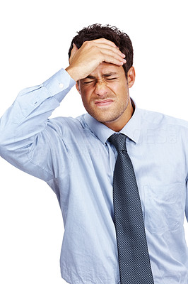 Buy stock photo Young male business entrepreneur with a headache against white background