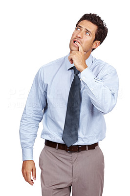 Buy stock photo Thoughtful young male executive biting his nails and looking away at copyspace against white background