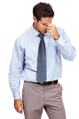 Buy stock photo Portrait of a young business man looking depressed from work isolated over white background