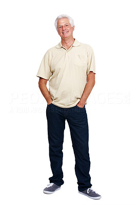 Buy stock photo Portrait of a casual mature man standing with his hands in pocket over white background