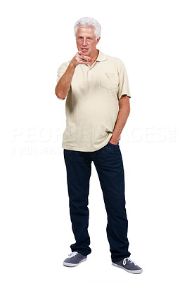 Buy stock photo Portrait of a angry old man pointing at you against white background