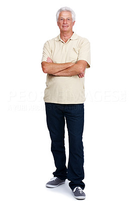Buy stock photo Portrait of a relaxed old man standing with arms crossed isolated over white background