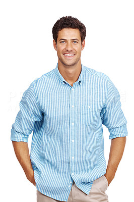Buy stock photo Portrait of a casual young business man standing with his hands in pocket over white background