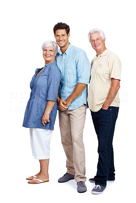Buy stock photo Portrait of a happy young man standing with his father and mother isolated on white background