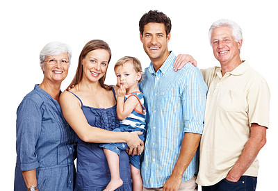Buy stock photo Portrait of a happy family with grandparents parents and children isolated against white background