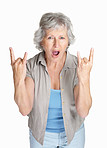 Mature woman in funky hand gesture isolated against white