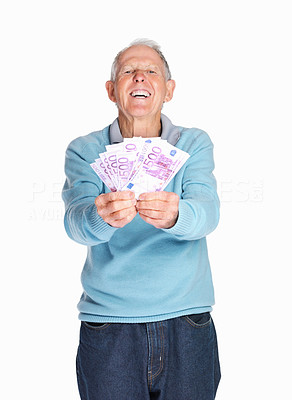 Buy stock photo Portrait of a happy senior man holding cash in hands isolated against white