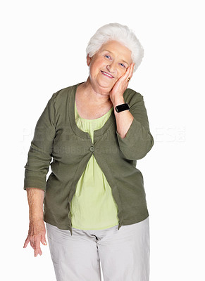 Buy stock photo Portrait of a happy elderly female with hand on chin against white background