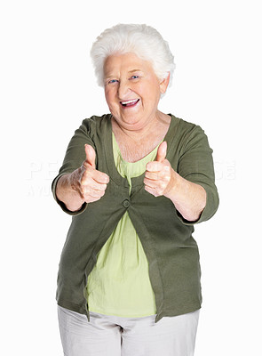 Buy stock photo Portrait of a happy mature woman showing thumbs up isolated against white