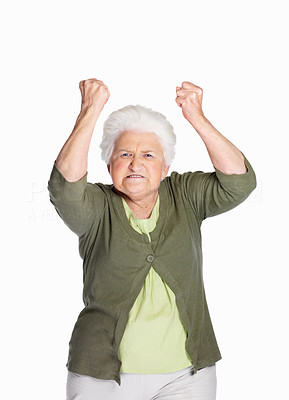 Buy stock photo Portrait of a furious mature woman in angry gesture isolated against white