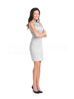 Buy stock photo Full length portrait of gorgeous young lady standing with hands folded on white background