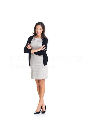 Buy stock photo Full length portrait of confident young businesswoman standing with hands folded on white background